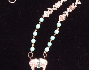 Vintage Turquoise and Clear Rhinestone Assemblage Necklace