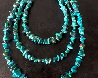 3 strand turquoise necklace, 3 row turquoise necklace, turquoise necklace with 3 strands, turquoise necklace, small chip turquoise necklace