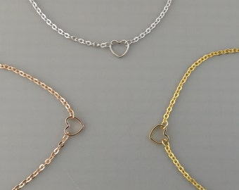 Silver,rose gold,or 16k gold plated heart choker necklace-perfect layering choker,dainty heart necklace, teen gifts best friend birthday
