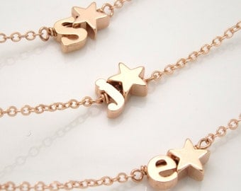Rose gold Initial and star bracelet- Silver rose gold or gold plated initial bracelet, bridesmaid gift, star jewelry, monogram bracelet