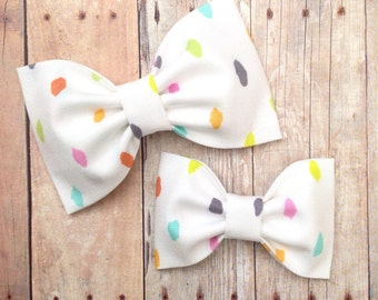 easter headband hair bow pastel dots white