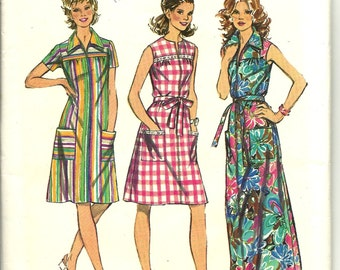 "1970's Vintage simplicity 5028 sewing pattern ZIP Front Smock-dress in 2 lengths UNCUT and Complete Size 16 38"" Bust  Casual or Glamorous"