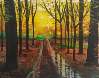 Whippendell Woods in Autumn - Original Watercolour Painting - Nature - Landscape - A5