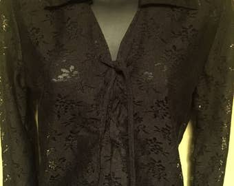 Vintage Black Lace L/S Tie At Chest Tunic - Vintage Hippie Tunic  Small