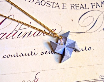 Polymer clay windmill origami pendant necklace - pinwheel necklace, origami necklace, polymer clay necklace