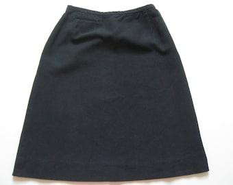 Black A-line skirt, Western detailing, 1950s-60s vintage Evan-Picone, cotton piqué, size small