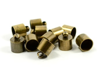 10 Pcs.Raw Brass Leather Cord End Cap with Loop 9x11 mm ( İnside Diameter 8 mm )