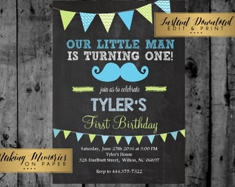 Mustache Invitation - Little Man Birthday Invitation - First Birthday Invitation - Mustache Printable  INSTANT DOWNLOAD, print yourself