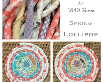Lollipop - The Seasons at 1840 Farm Collection - Made to Order Handmade Fabric Baskets and Trivets