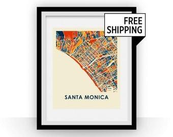 Santa Monica Map Print - Full Color Map Poster