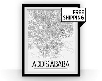 Addis Ababa Map Poster - Ethiopia Map Print - Art Deco Series