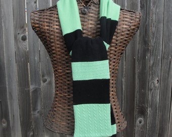 Upcycled Mint Green and Black Cashmere Striped Scarf