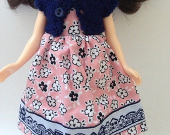 """Neo Blythe 12"""" Doll Flower Print Dress with Lace Trim and Matching Navy Knitted Short Sleeve Cardy"""