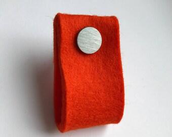 door handle in bright orange