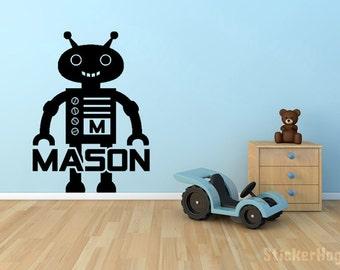 "Robot Monogram Name Vinyl Wall Decal Graphics 22""x16"" Boys Bedroom Nursery Decor"