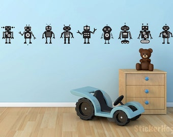 Friendly Robots Wall Decal Border for Home Decor