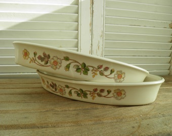 Vintage Pair of Autumn Leaves Gratin Dishes, Serving Dishes, Oven to Tableware, Marks and Spencers, Made in Great Britain, 1980's serving