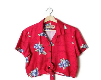 Vintage Hawaiian Short sleeve cropped Blouse from 90's/front tie*