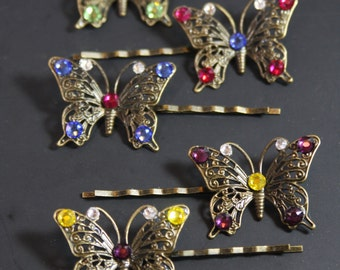Butterfly Rhinestone Hair Accessories, Vintage Inspired Butterfly Jewelry Hair Pins, Vintage Style Wedding or Special Occassion Bobby Pins