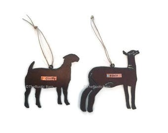 PERSONALIZED GOAT or LAMB Ornament made of Rustic Rusty Rusted Recycled Metal