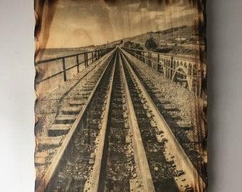 Photo Art on Wood, Photo Transfer, Handmade, Pine Wood, Railroad Tracks, Fine Art Photography, Photo Printed On Wood, Wood Wall Art