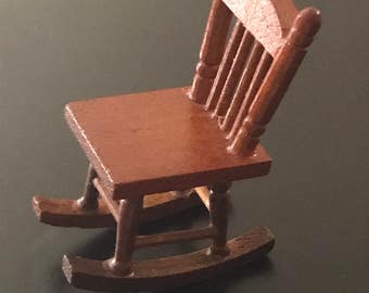vintage miniature wooden wood rocking chair dollhouse furniture fairy garden