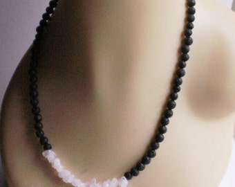 Black lava - Pearl and Rose Quartz necklace