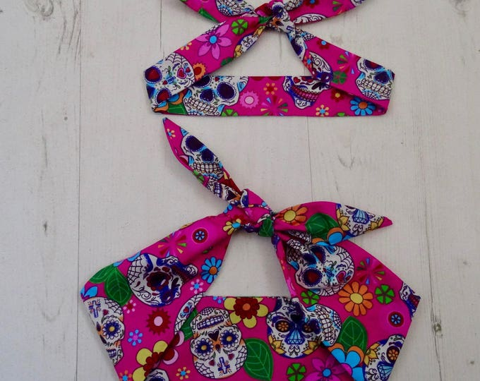 Matching Mum & Baby Rockabilly Head Scarf - Pink Mexican Candy Skull - Cotton Shower Bandana Boy Girl Gift Mom Mother Unisex 1950s Pin Up