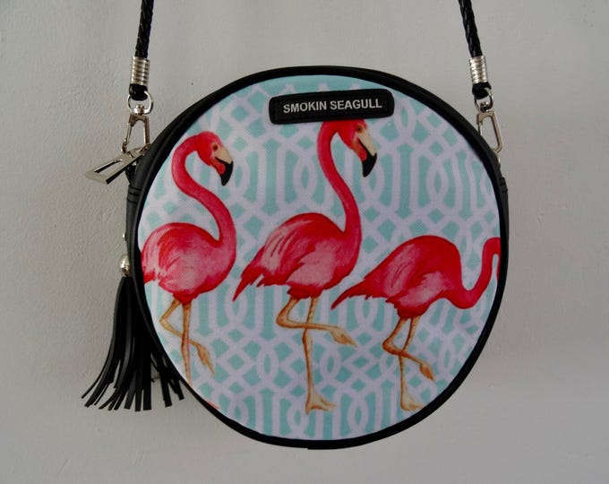 Pink Flamingo Round Handbag - Tropical Hibiscus Blue Summer Holiday Bag