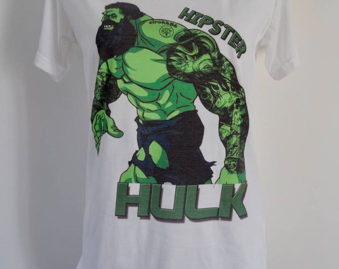Women's Hipster Hulk T-Shirt - UK 12 14 16 - Tattoo Comic Book Superhero Alternative Beard