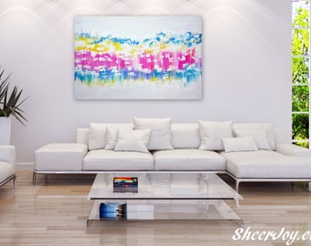 """large abstract painting, pink and white painting, abstract wall art, painting for wall, pastel painting, pastel colours, pastel art,36""""x 24"""""""