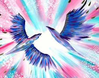 """paintings, from Australia, painting, with 2 birds, with, birds, purple, pink, white and, aqua, love, wedding gifts, on, canvas,lilac,36""""x24"""""""