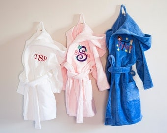 Children's Personalized Velour Hooded Bath Robe, Embroidered Robe- Custom Robe-Monogrammed Kids Bath Robe
