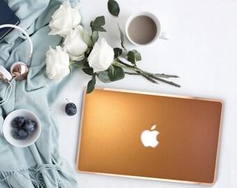 Platinum Edition Metallic Blaze Orange with w/Rose Gold Edge Hybrid Hard Case for Apple Mac Air & Mac Retina , New Macbook 2016
