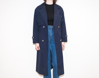 80s 90s dark blue trench coat / long navy double breasted jacket / size L
