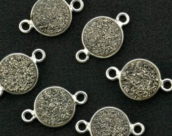 4th July30% OFF Natural Platinum Druzy, Bezel Round Shape Connector, 8mm Round Silver Plated, Double Bail 1pc (MZ-11200)