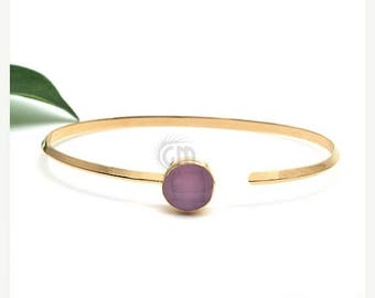 45% OFF Rose chalcedony gemstone adjustable bangle, Gold plated stone bangle bracelet 1pc (DSBA-19106)