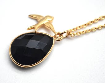 Black Onyx Bezel Necklace with 24k Gold Plated Birds Charm Chain Pendant, 16x11mm Gold Plated Necklace Pendant 1pc (BONC-16002)