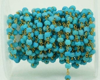 40% OFF One Foot Beautiful Turquoise, 3-3.5mm 24k gold plated wire wrapped Rosary Chain by Foot.(GPTQ-30002)
