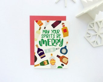Funny Holiday Card - Merry and Bright Holiday Card - Happy Holidays Card - Funny Christmas Card - Merry Christmas Card - Funny Wine Card