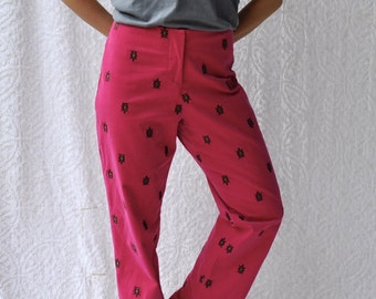 90s Preppy Lilly Pulitzer Pants || Pink Corduroy Slacks. Embroidered Turtles || Corduroy High Waist Pants. High Rise Pink Trousers || L / 14