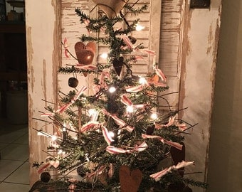 "Primitive Valentine German Twig Lighted Tree Rusty Shabby 24"" Tall"