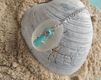 Handmade Authentic Large Surf Tumbled Authentic White Sea Glass Pendant with Flip Flop Charm