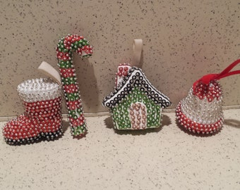 Set of 4 Sequin and Pin Ornaments