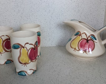 Purinton Pottery Fruit Pitcher and Glasses