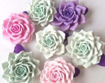 Hair clip polymer clay flower. Mint  rose.