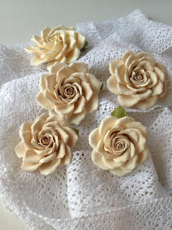 Beige rose for the bride hairstyle Aligator clip
