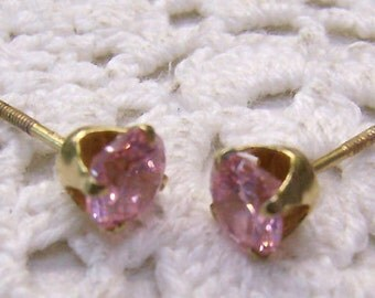 Summer Sale...Victorian Antique 14K Gold Threaded Pink Earrings...Pink Topaz Solitaire Studs...14K Yellow Gold Threaded Post Earrings