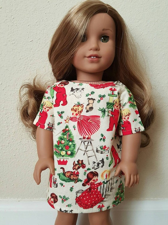 Christmas print sheath dress for 18 inch dolls by the glam doll