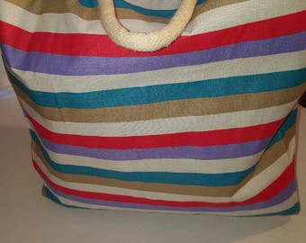 Large Tote-Beach Tote-Large Handbag-Market Bag-Stripe Tote